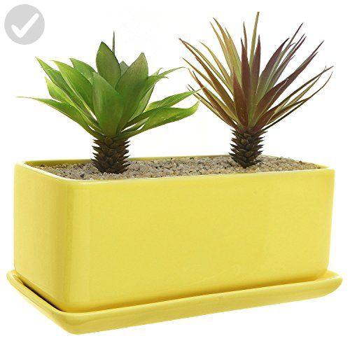 10 Inch Rectangular Modern Minimalist Yellow Ceramic Succulent Planter Pot Window Box With Saucer Ceramic Succulent Planter Ceramic Succulent Planter Pots