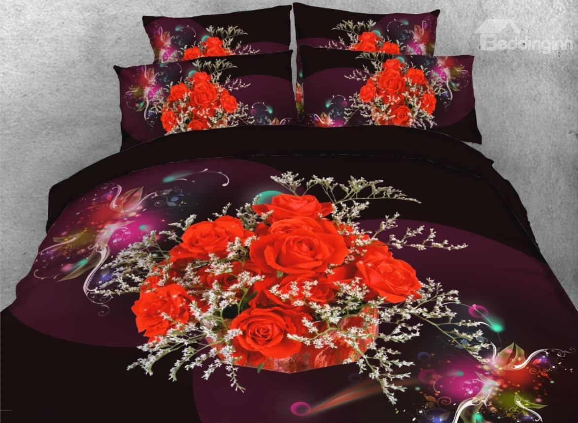 Onlwe 3D Bouquet Of Red Roses Printed 4-Piece Floral
