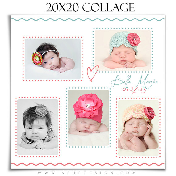 Newborn Collage Bela Baby 1 20x20 Photoshop Collage Template For Photographers Scrap Bookers Photoshop Collage Template Collage Template Print Collage