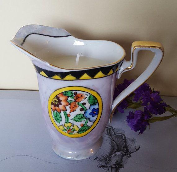 Vintage Lustreware Noritake Creamer Candle  by vintagewickShop