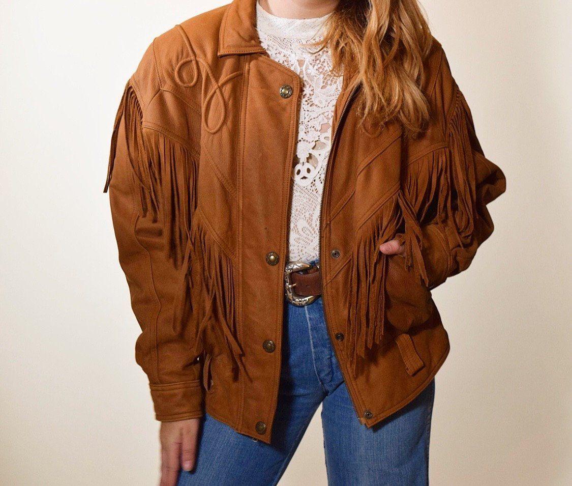 Western Women S Fringe Chestnut Brown Leather Bomber Jacket Authentic Vintage 1980s Fully Li Fringe Leather Jacket Brown Leather Bomber Jacket Vintage Jacket [ 955 x 1125 Pixel ]