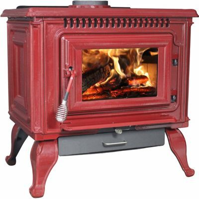 Tractor Supply Find Ashley Wood Red Enameled Porcelain Cast Iron Freestanding 2000 Sq Ft Stove In Wood Stove Wood Burning Stove Corner Wood Stove Fireplace