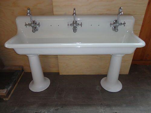 Vintage Cast Iron Farm Farmhouse Pedestal Trough Sink Antique Trough Sink Sink Vintage Sink