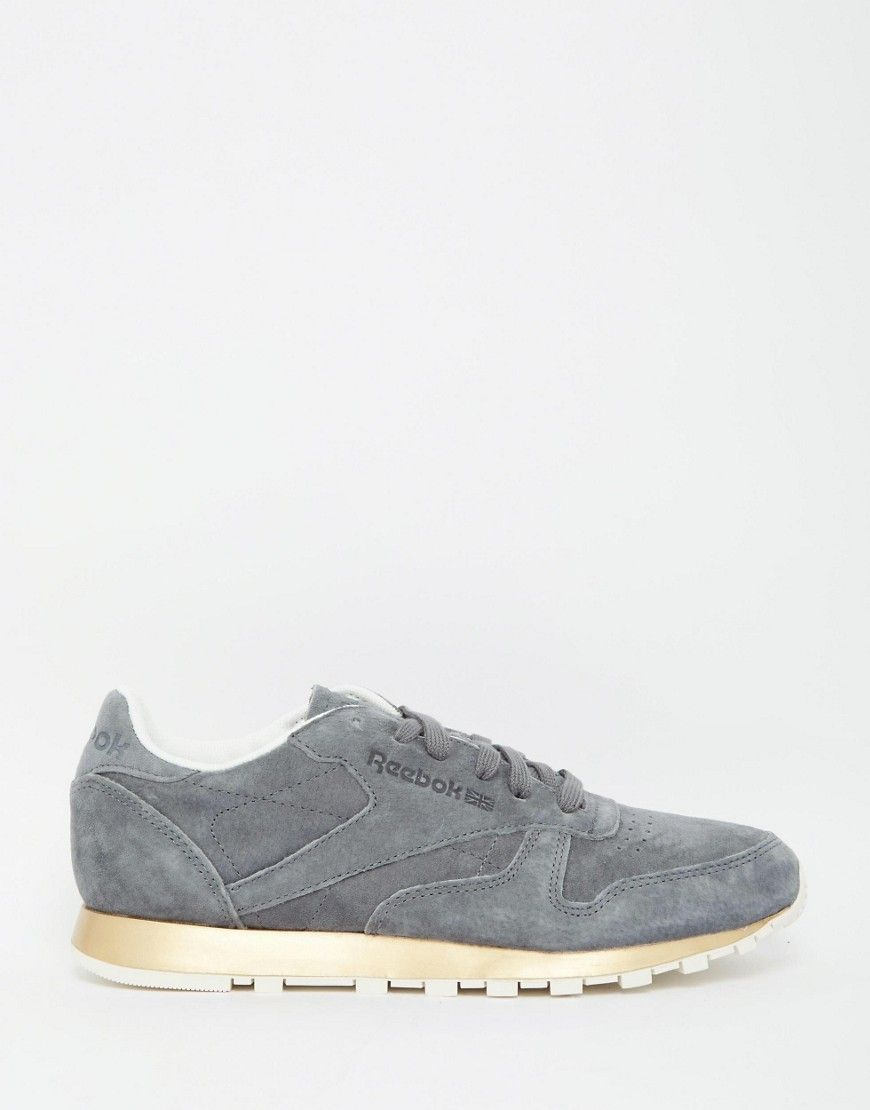 online store 217d2 b7220 Shop Reebok Classic Gray Suede Sneaker With Gold Sole at ASOS.
