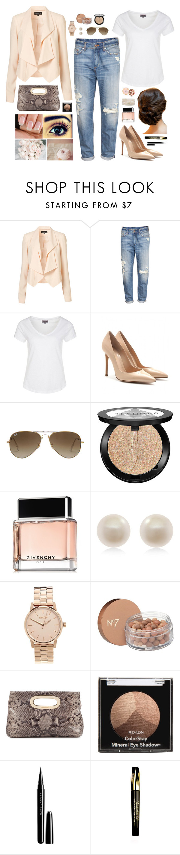 """""""A little bit of pink"""" by verzz ❤ liked on Polyvore featuring H&M, Zalando, Gianvito Rossi, Ray-Ban, Sephora Collection, Givenchy, Links of London, Nixon, Boots No7 and MICHAEL Michael Kors"""