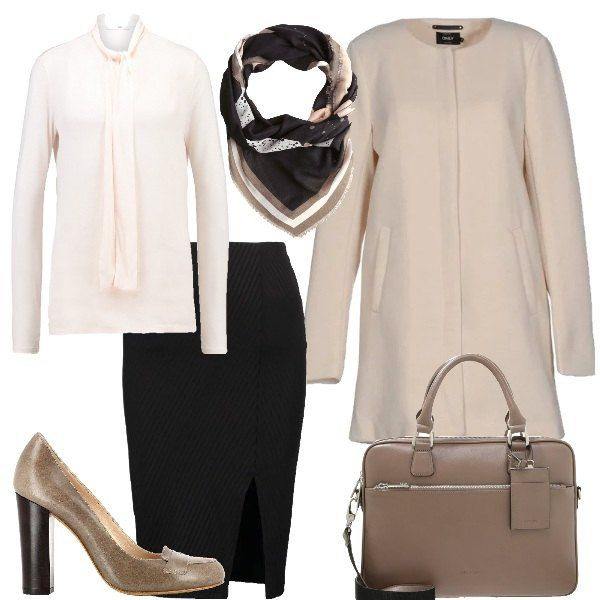 Outfit composto da cappotto beige con collo tondo e chiusura