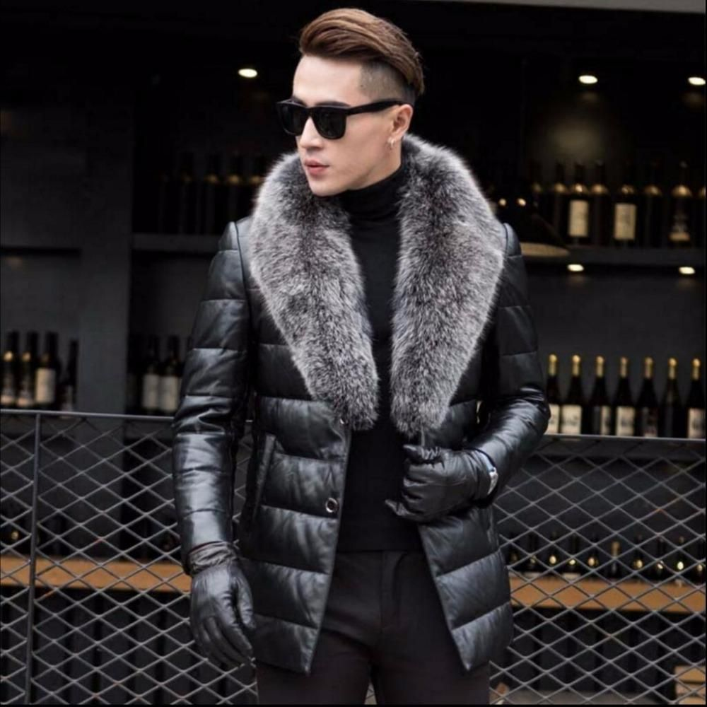 S-4XL New Men Luxury Genuine Leather Down Jacket High quality sheepskin  Winter Thicken Warm jacket Business Plus Size Fur Coat 54f695f45425