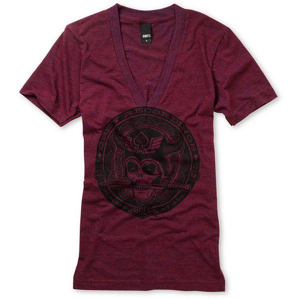 Obey Girls No Sleep Heather Maroon Tri Blend V-Neck Tee Shirt found on Polyvore