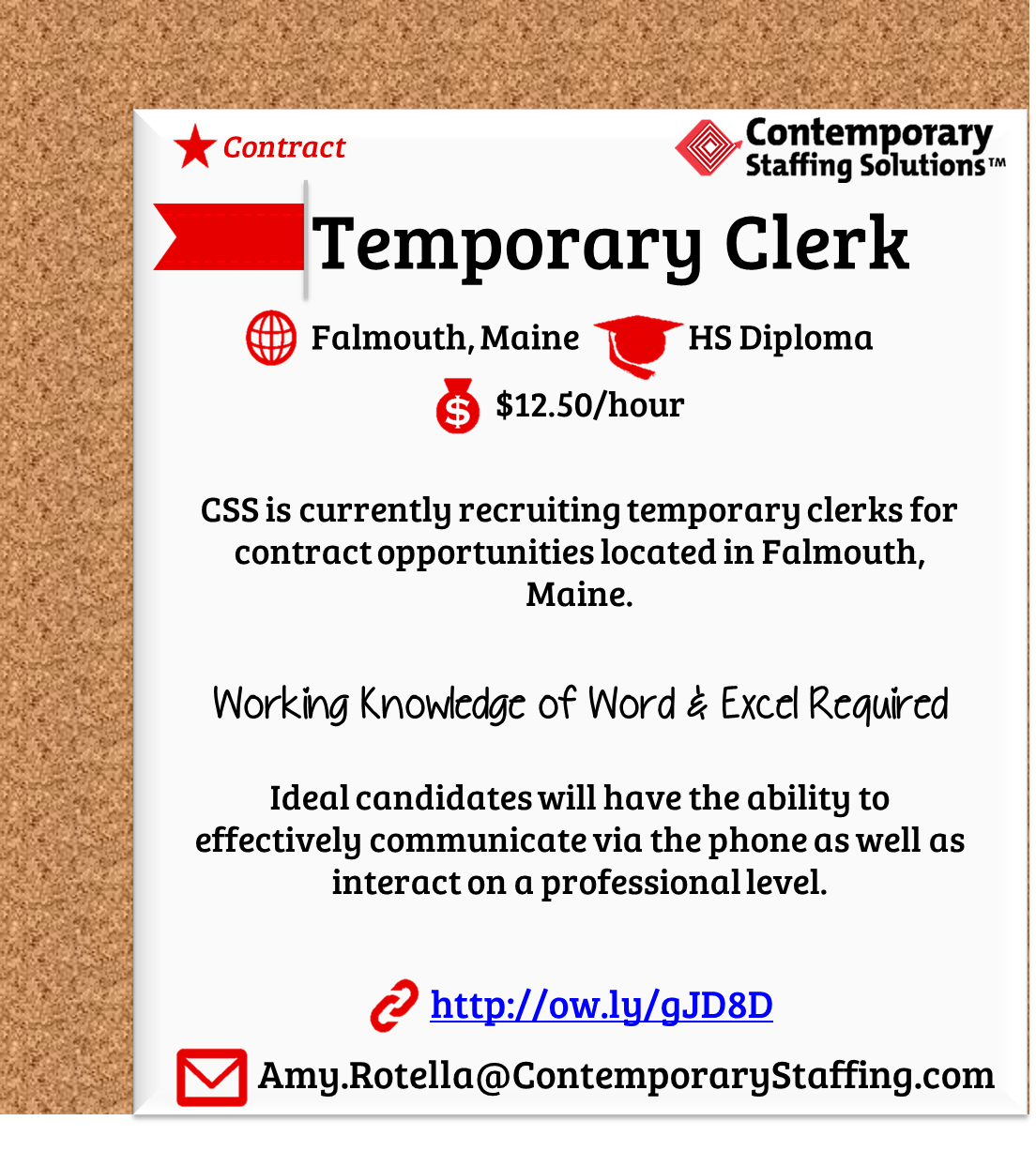 Css Is Hiring Temporary Clerks In Falmouth Maine L 12 50 Hr L