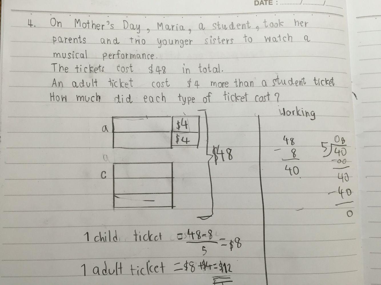 P3 Word Problem Solving Money Bar Model