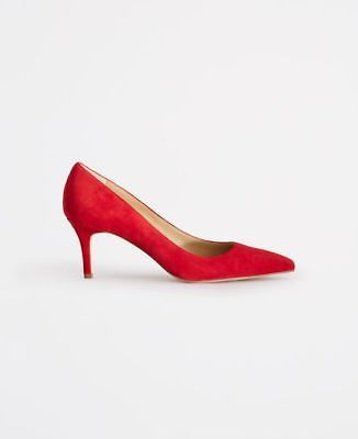 244be0240fd  128 NEW IN BOX! ANN TAYLOR Aurora Red Eryn Suede Kitten Heels Pumps ...