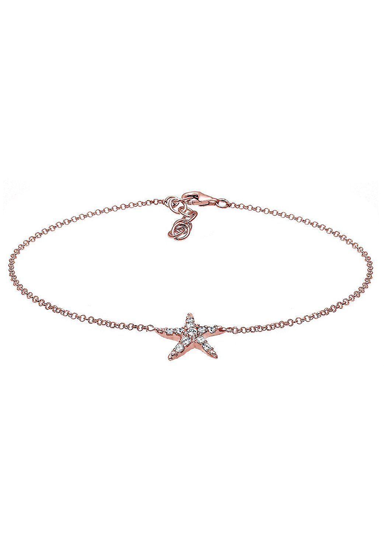 Elli Women's 925 Sterling Silver Basic Swarovski Crystal Anklet 8XCN0wELyu