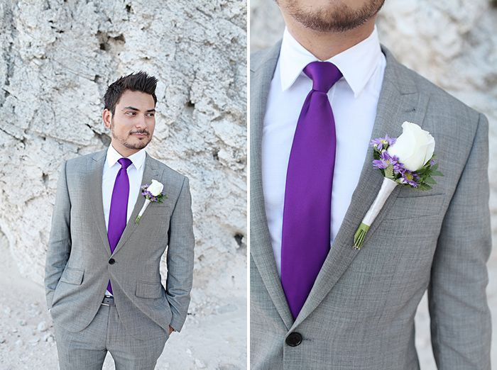 groom in a gray suit with a bold purple tie | Modern Purple ...