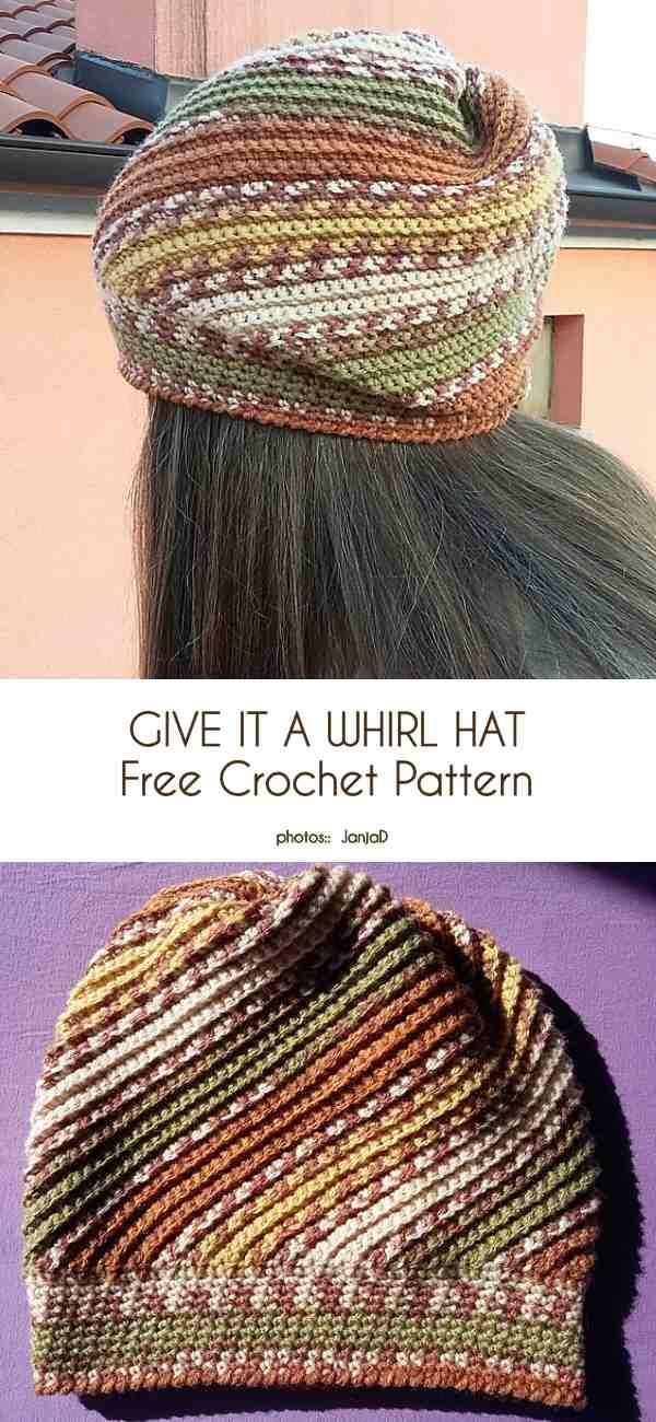 Give It a Whirl Hat Free Crochet Pattern #crochetedhats