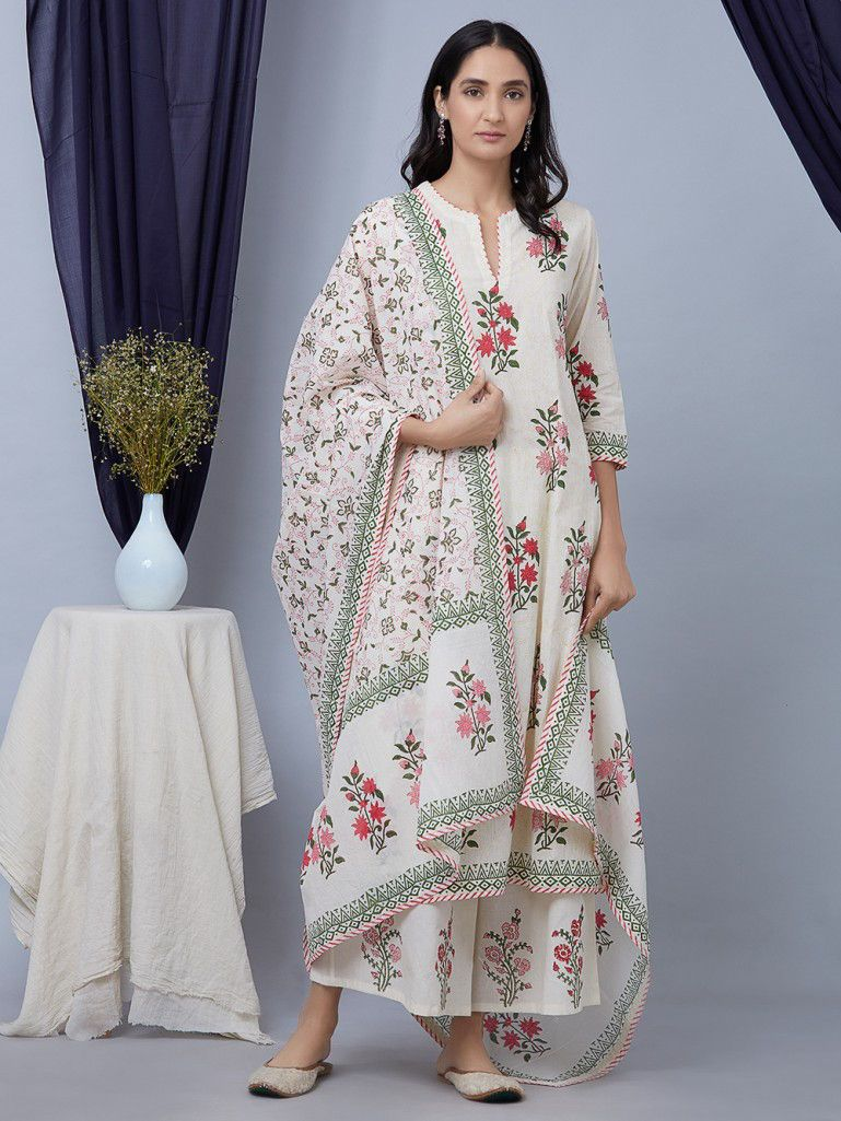 bf50e91accf Buy Pink White Hand Block Printed Cotton Suit - Set of 3 online at ...