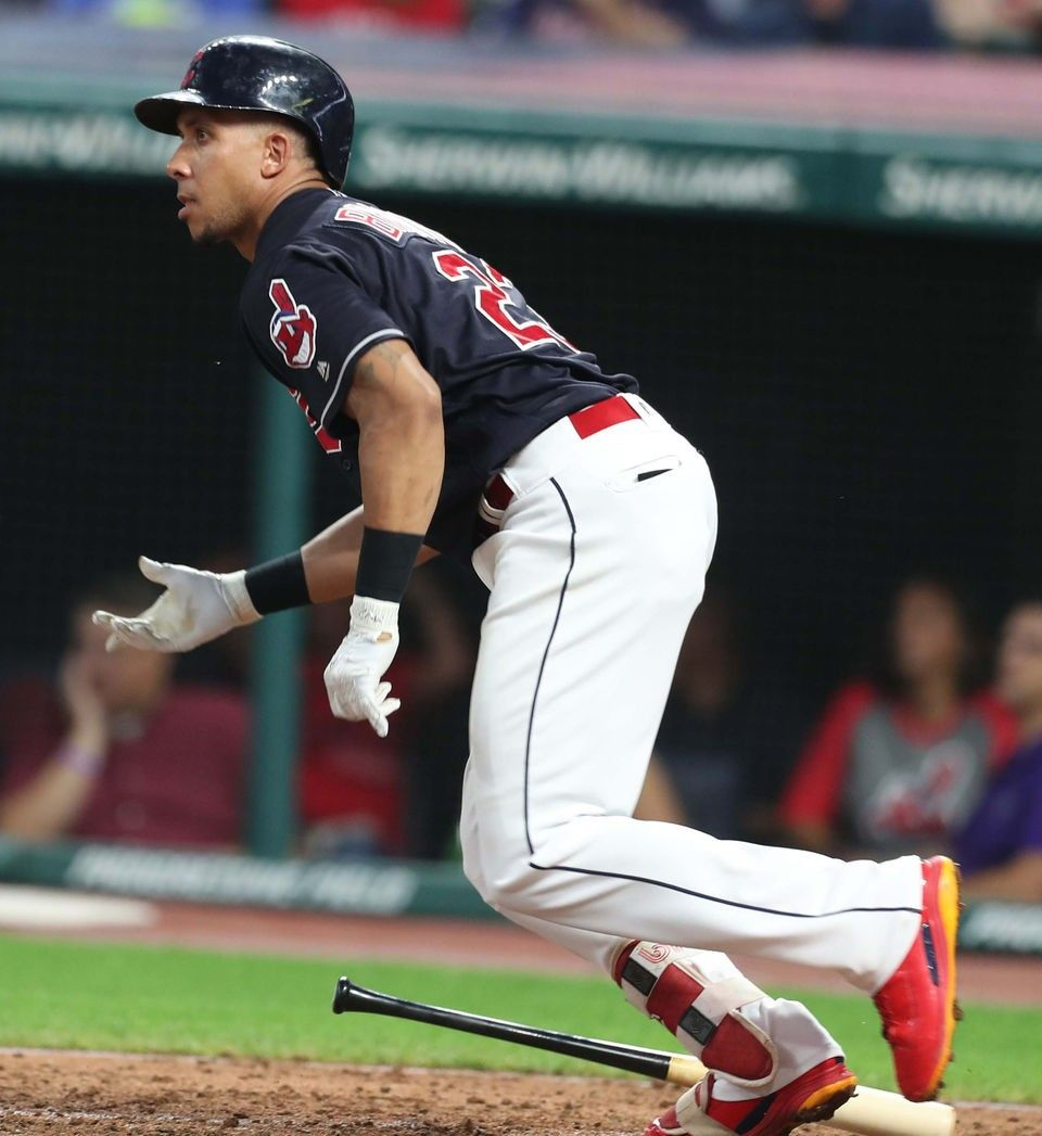 Cleveland Indians Michael Brantley singles to center