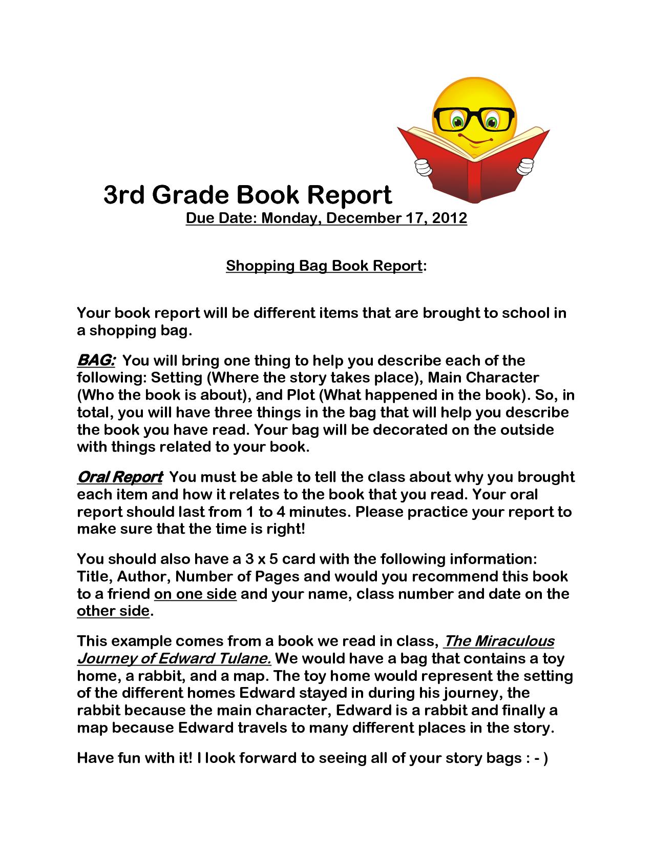 Free Book Report Template 3rd Grade