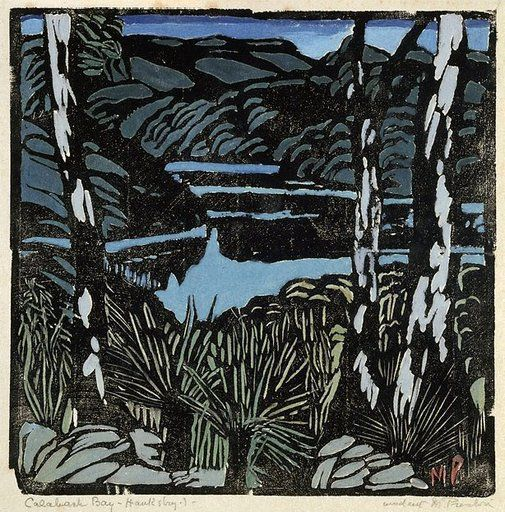 Cowan Creek, from Berowra, 1939, Margaret Preston, hand coloured woodblock print, 27.0 x 27.0 cm, Art Gallery of NSW.