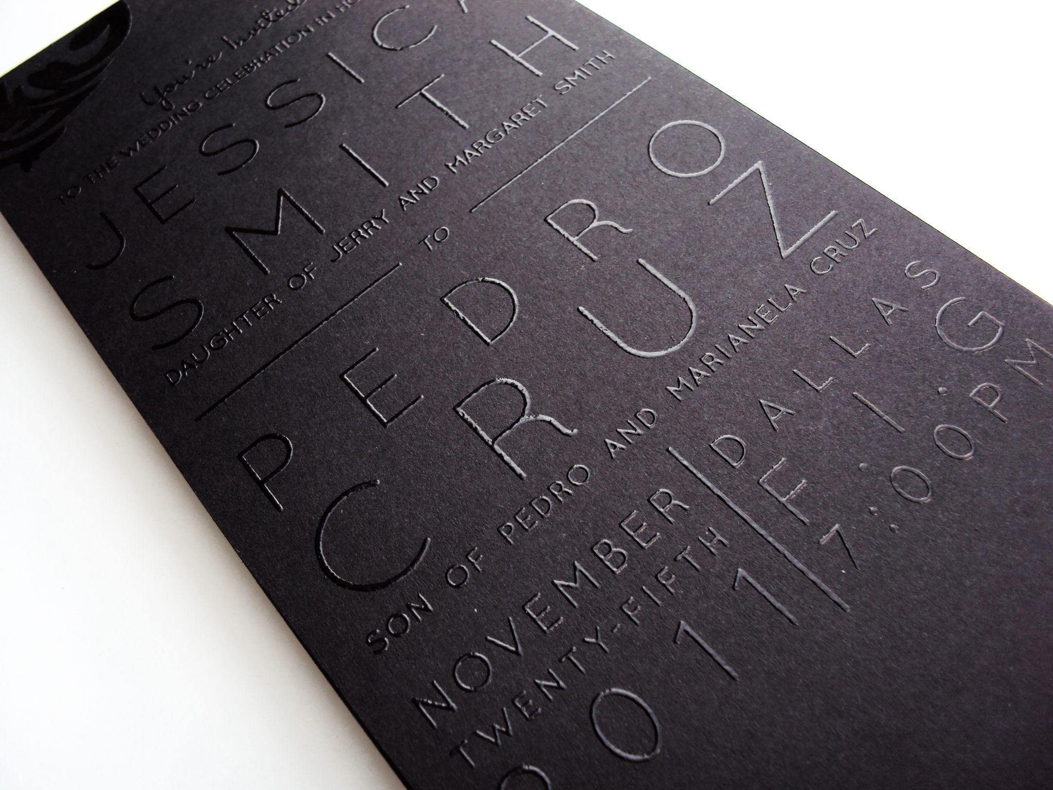 sleek black on black thermography wedding invitations