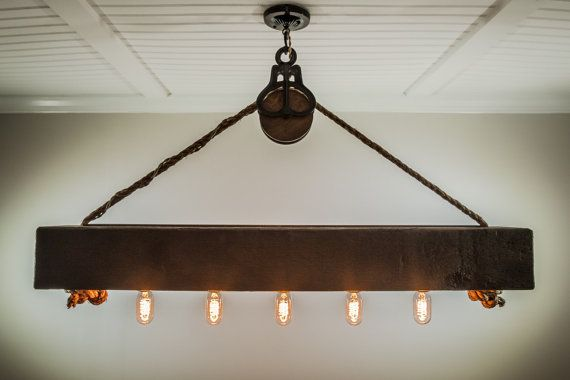 This Rustic Cedar Beam With Edison Bulbs Is Suspended By A Barn Pulley And Inch Rope The Hand Planed Sealed Color Of Your Choice To