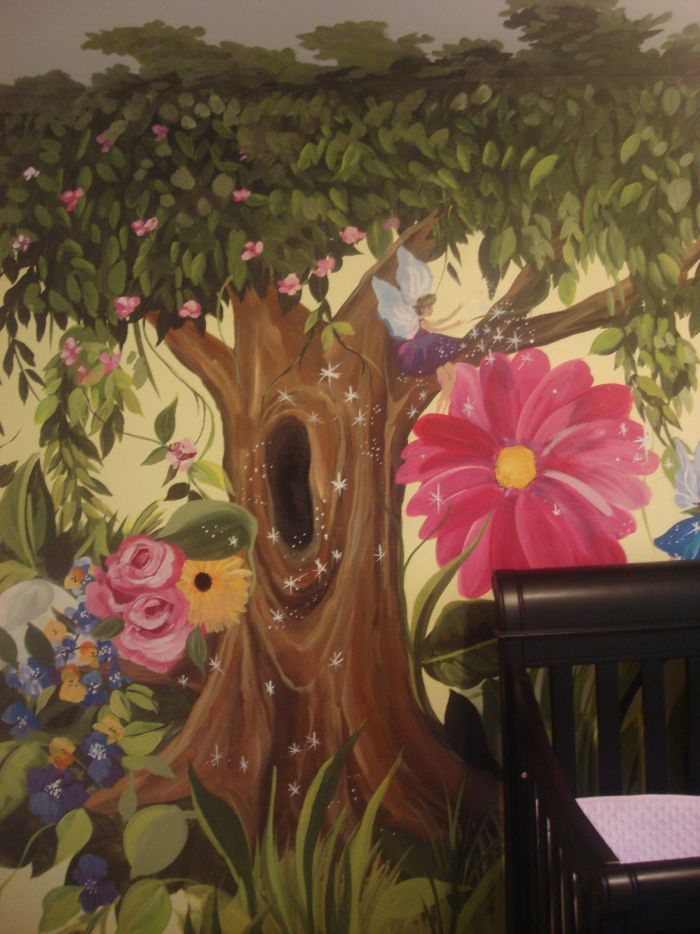 Enchanted forest nursery theme if ever had a lil girl i for Enchanted forest mural