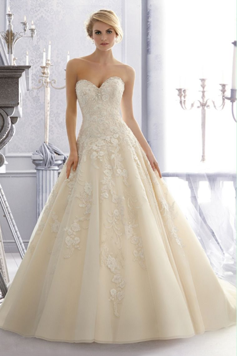 wedding dresses a line sweetheart chapel train organza with