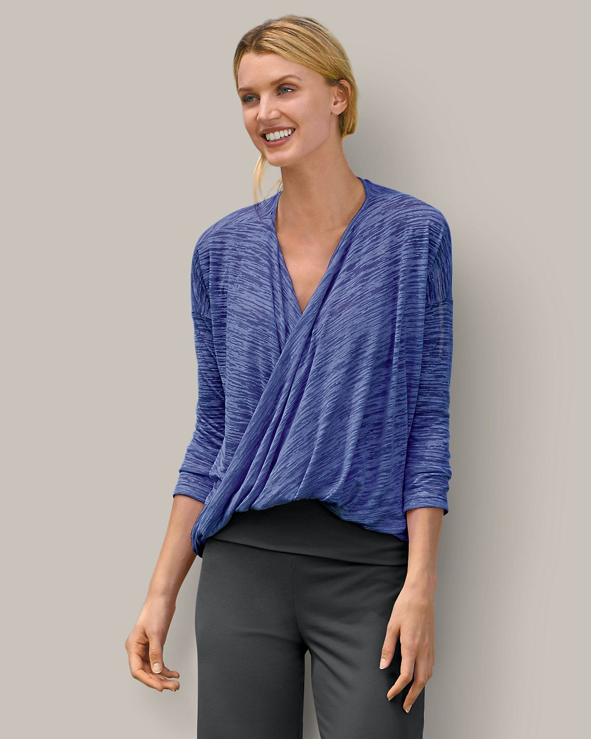 Women's 3/4-sleeve Burnout Wrap Top | Eddie Bauer got this for ...