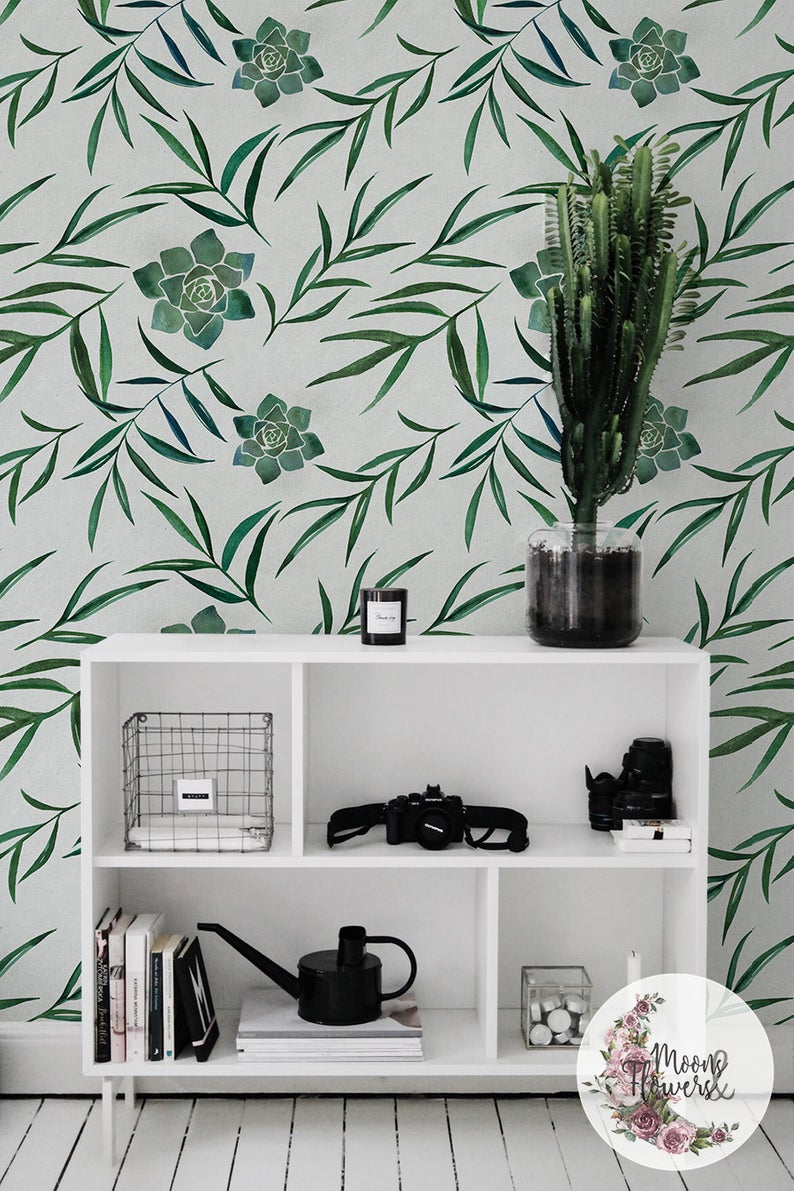 Succulent With Leaves removable wallpaper, Flowers wall