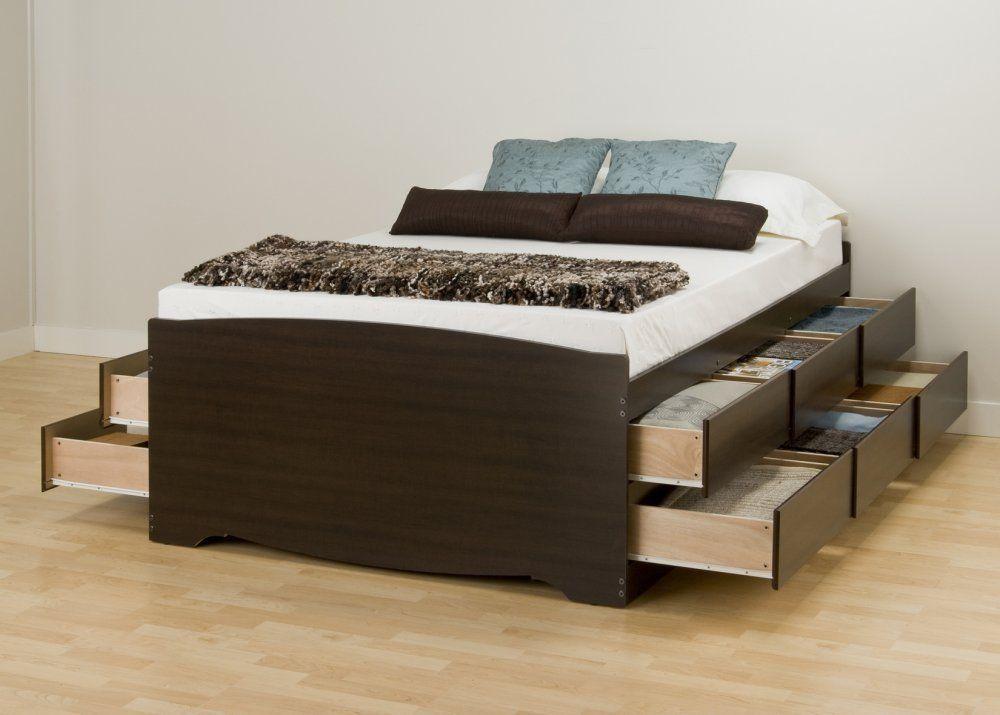 Amazon.com: Prepac Espresso Tall Queen Platform Storage Bed (12 ...