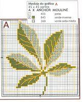 Esquemas de hojas de árboles en punto de cruz