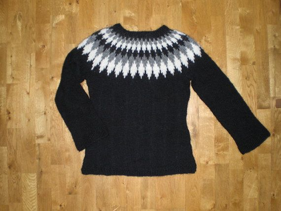Very nice black,grey and white hand knitted sweater,made of wool ...