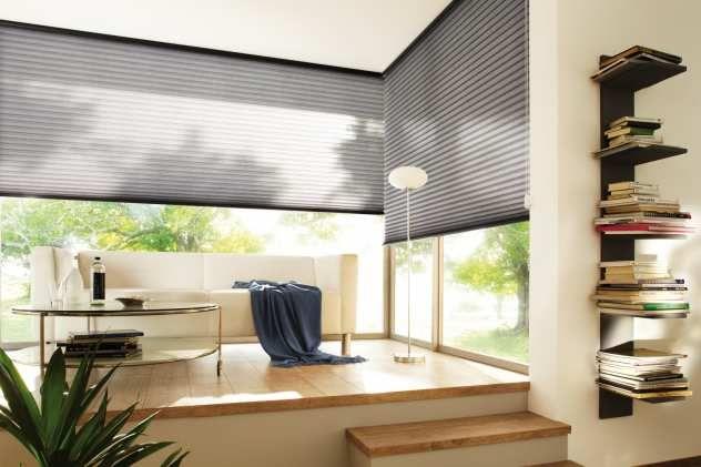 Wohnzimmer Idee: Moderne Raumgestaltung im grauen Plissees ...