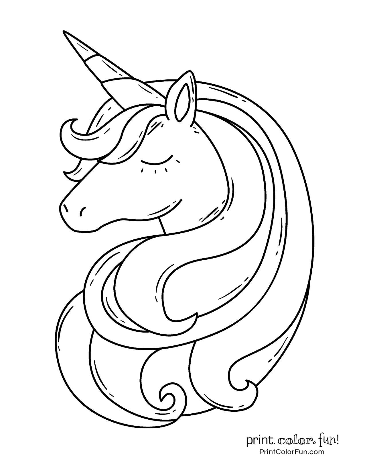 Easy Unicorn Head Coloring Pages