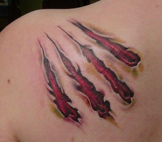 open wound tattoo designs claw marks on the ribs animal tattoo rh pinterest com Tribal Coyote Tattoo Werewolf Tattoos for Men
