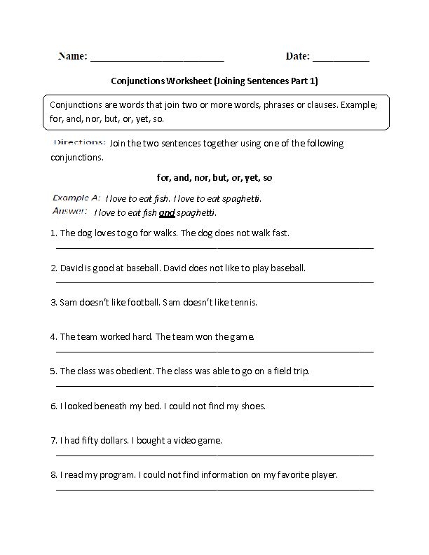 {Conjunctions Worksheet Joining Sentences Intermediate – Fanboys Worksheet