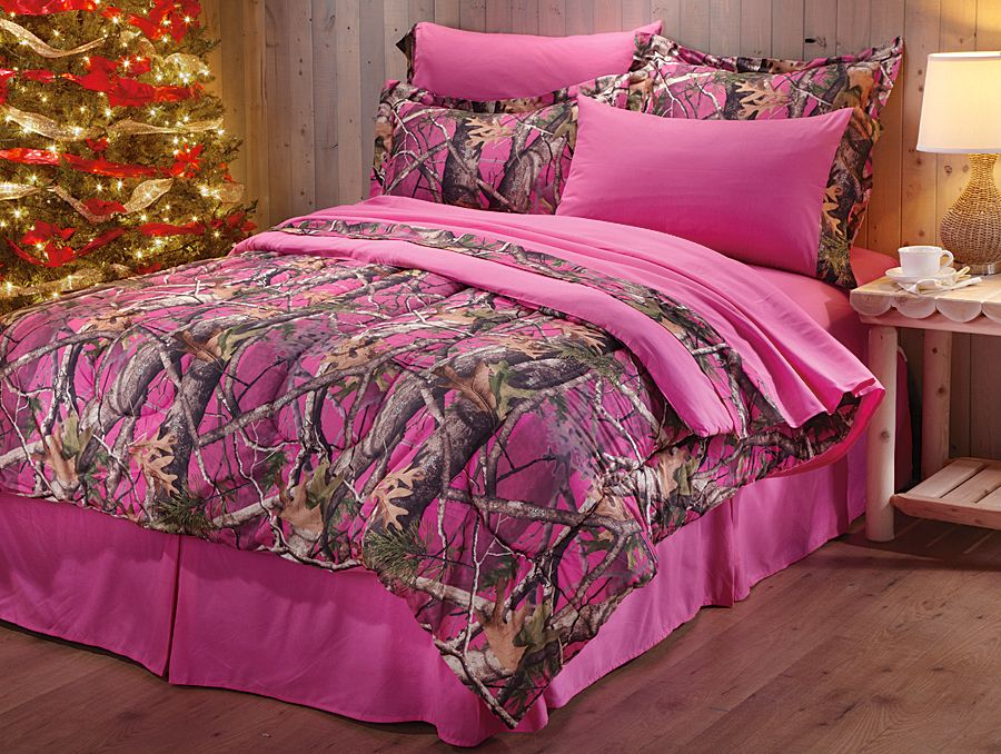 if camo bedding is the look that calls to you this is your set whether youre going for a log cabin feel or hunting room dcor add a little fun to your - Pink Camo Bedding