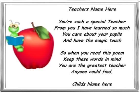 Thank You Poems Special Teachers – Air Media Design