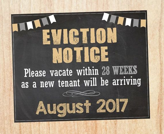 eviction notice pregnancy announcement sign printable new baby