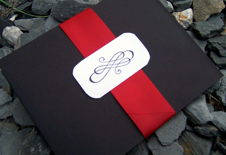 Pocketfold wedding invitation, black, red, ivory, white wedding ...