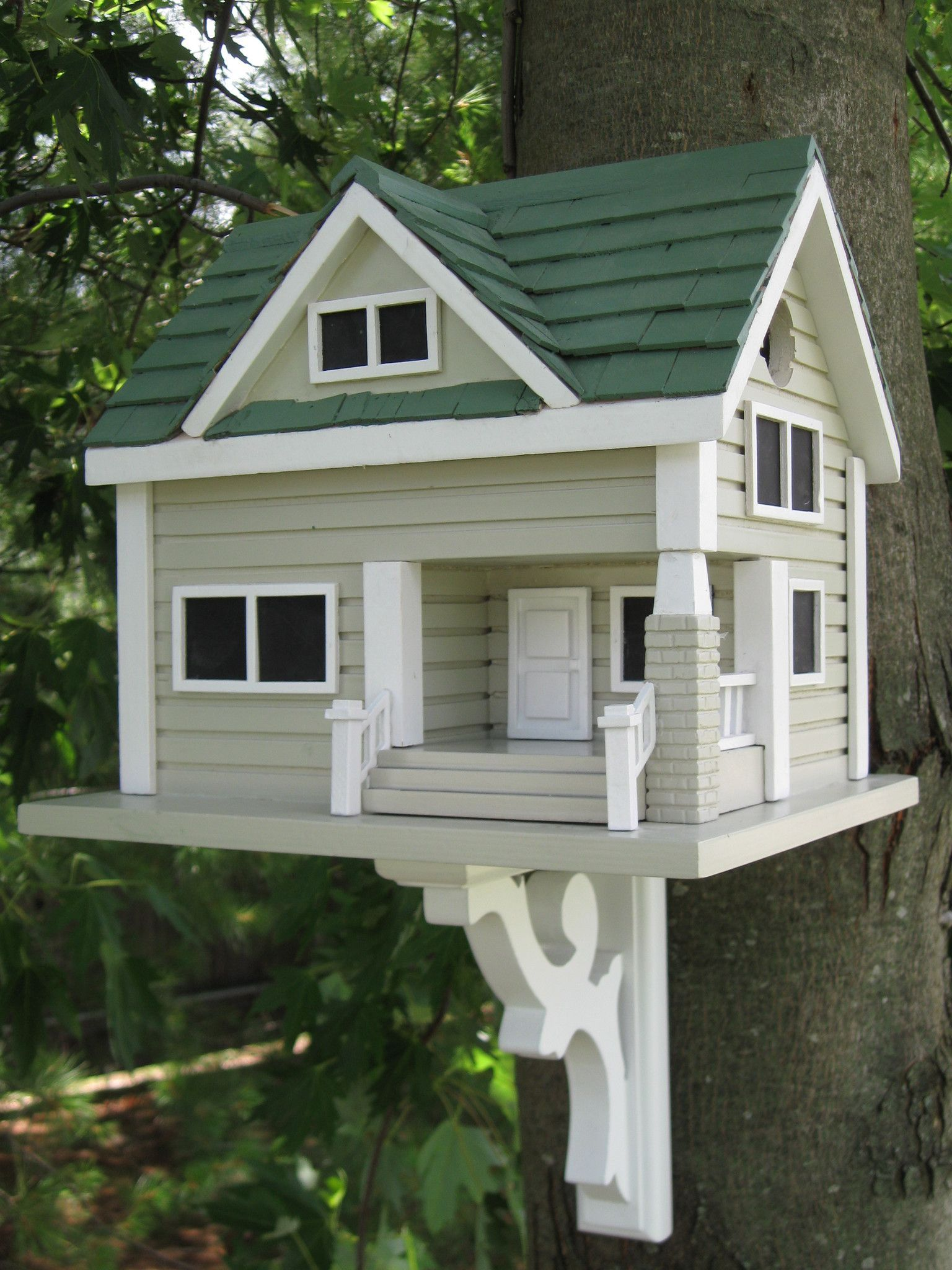 Best Bungalow Birdhouse Grey With Green Roof House Paint 400 x 300