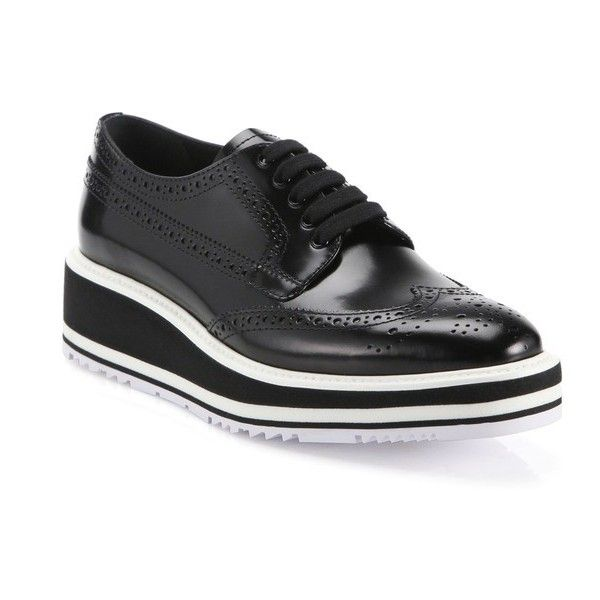 Prada Leather Brogue Platform Oxfords (6,675 GTQ) ❤ liked on Polyvore featuring shoes, oxfords, black, flats, black platform oxfords, leather flats, black flat shoes, platform oxfords and oxford shoes