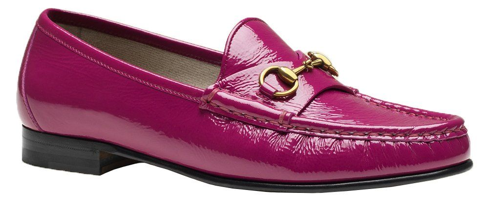 "Gucci Women's Pink patent leather 1953 Horsebit Loafers Shoes, Pink, 37 M EU. made in italy. pink fuchsia soft patent leather. horsebit detail. leather sole. 0.6"" heel."
