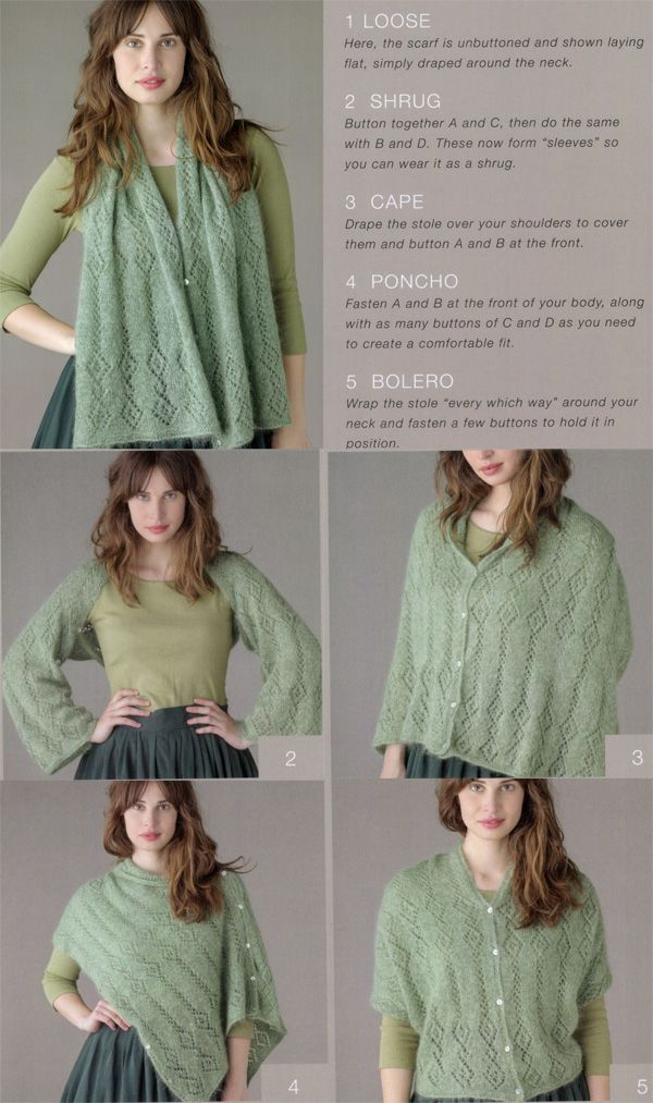 Free knitting pattern for multi-way stole | Knitting | Pinterest ...