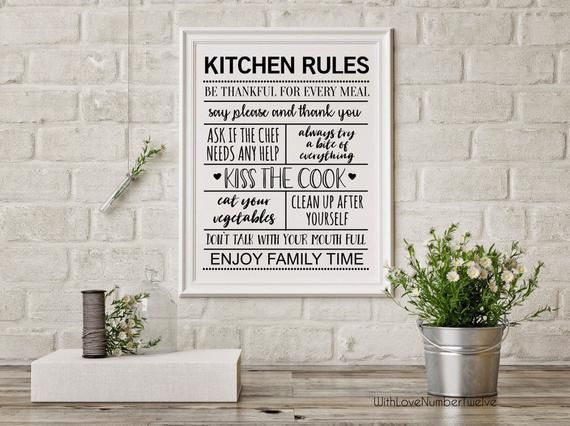 Kitchen Rules - Wall Art - Print #kitchenrules Kitchen Rules - Wall Art - Print #kitchenrules