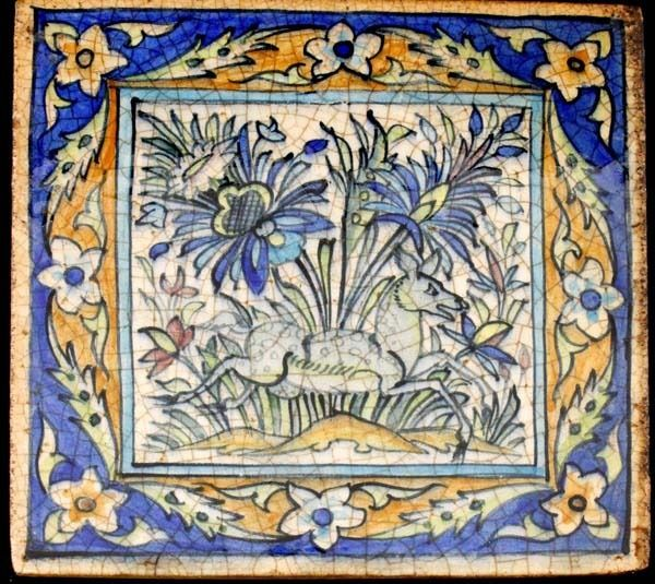 19th century square Persian tile, the central panel decorated with stylised running deer #ukauctioneers #tiles