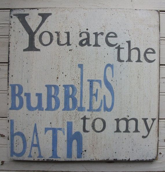 You are the Bubbles to my Bath Blue and Grey by TheFunkiLittleFrog, $45.00