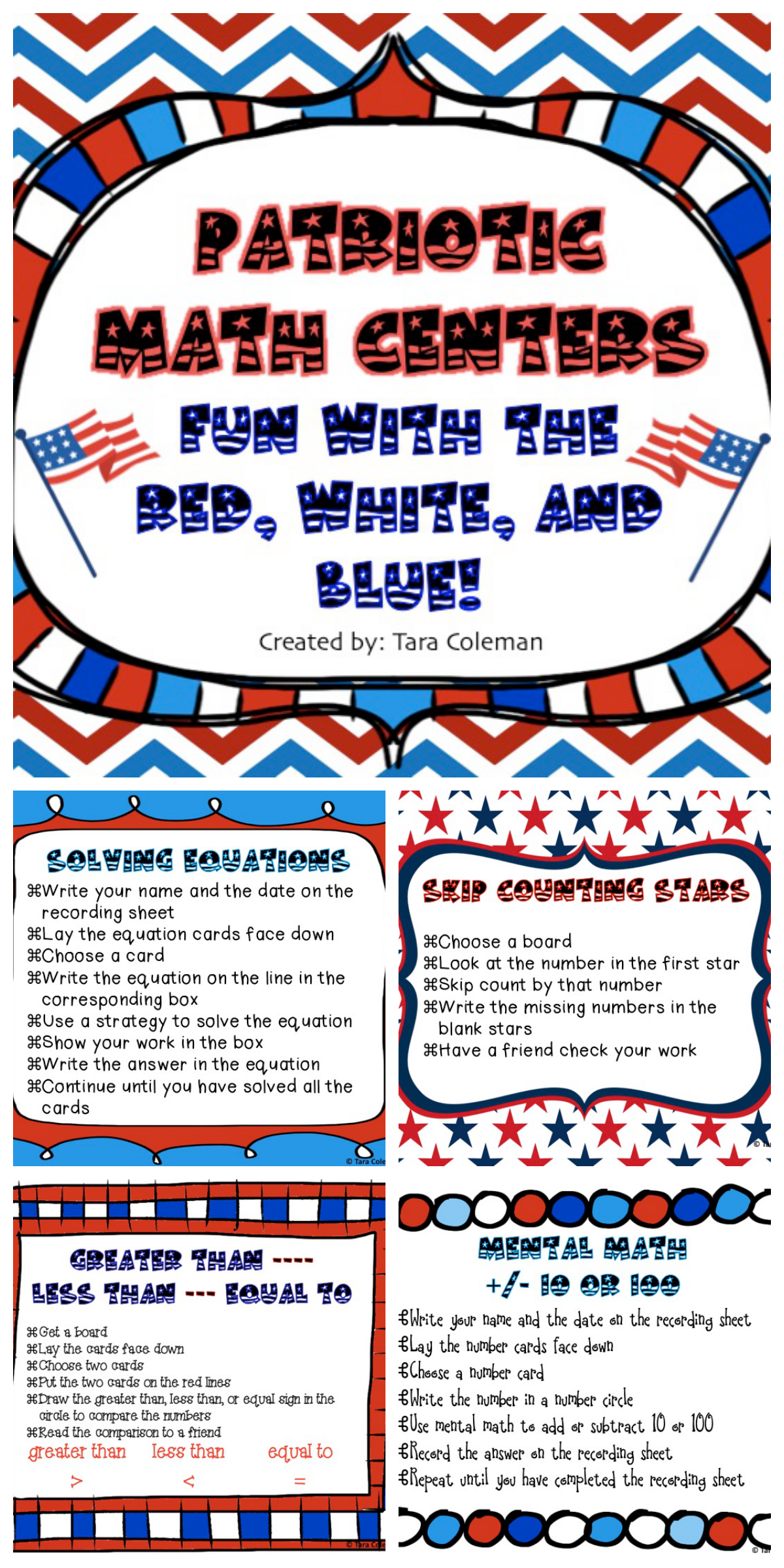 Patriotic Math Centers Fun With The Red White And Blue