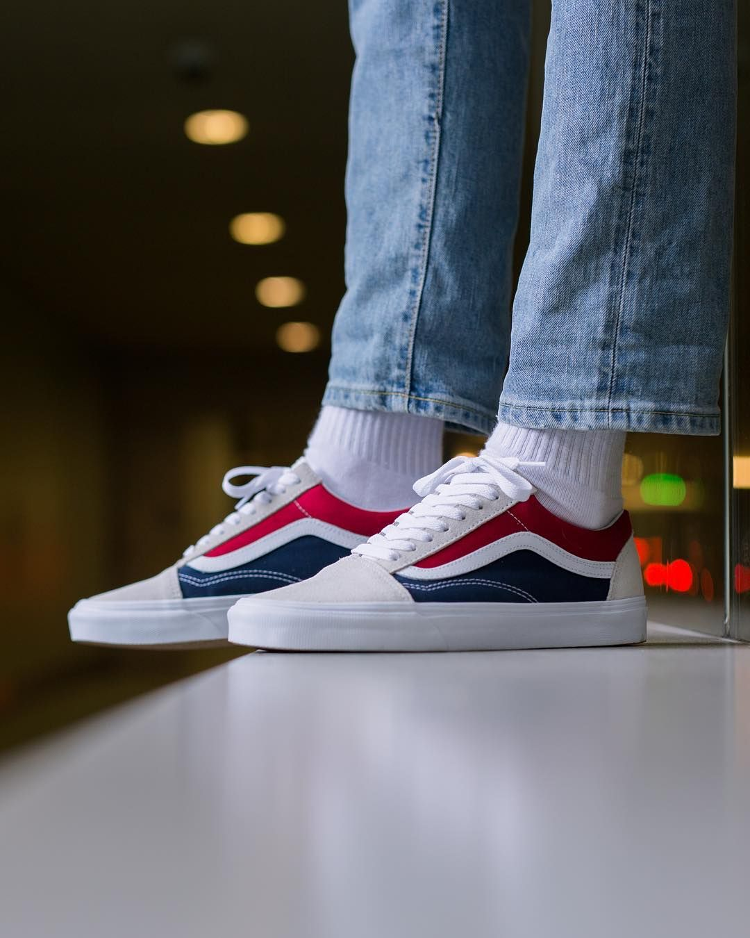 Vans Old Skool - White/Red/Dress Blue | Sneakers | Mens vans shoes ...