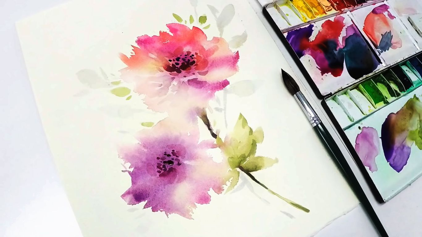 Using The Wet In Wet Technique To Make Watercolor Flowers Bloom