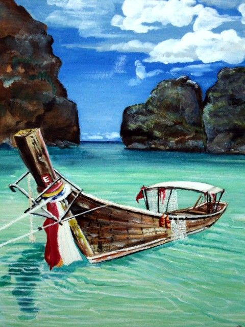 Art original paintingthai longtail fishing boat 18 x 24 for Fishing boat painting